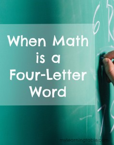 Math is one of those things that gave me a stomachache when I was in school; in fact, it still does. Never, in my wildest dreams, did I think I would be teaching math one day. I didn't always feel like math is a four-letter word.