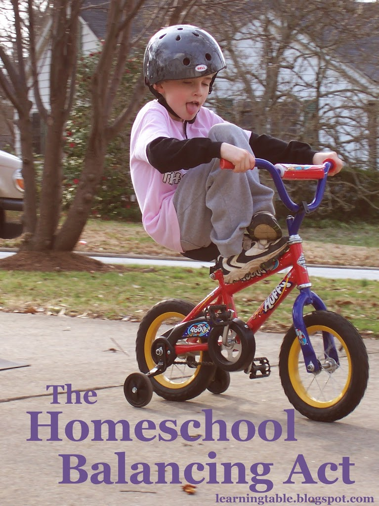 #homeschool balancing act @mylearningtable.com