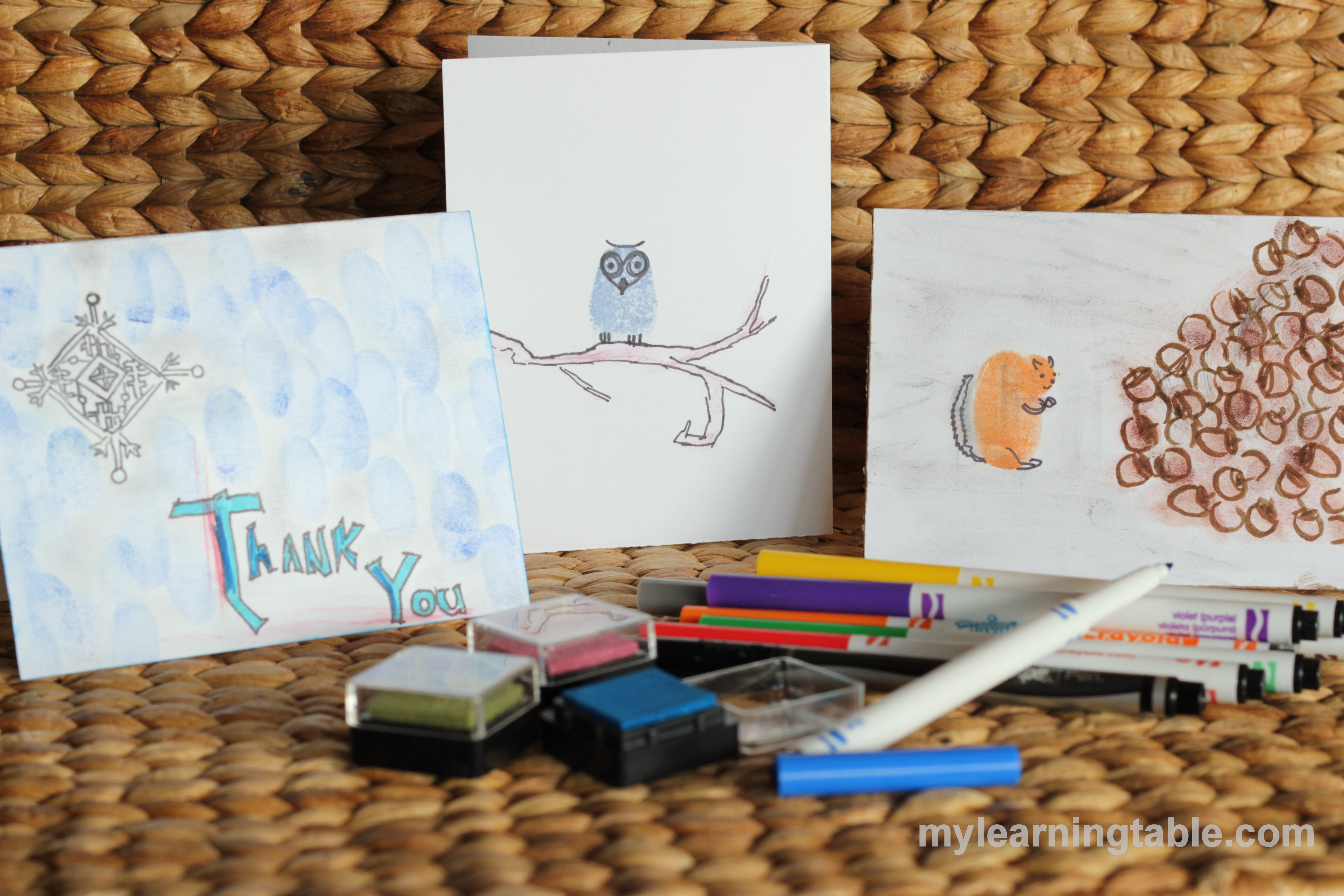 HOMEMADE THANK YOU CARDS #languagearts #craft mylearningtable.com