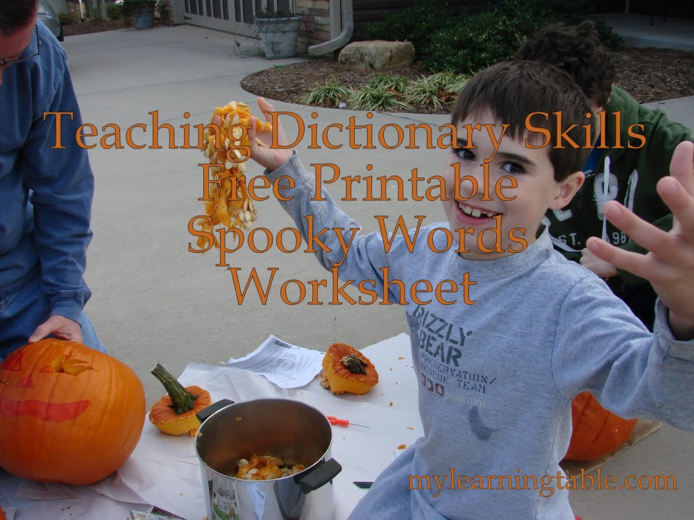 Teaching Dictionary Skills Free Printable Spooky Words Worksheet mylearningtable.com
