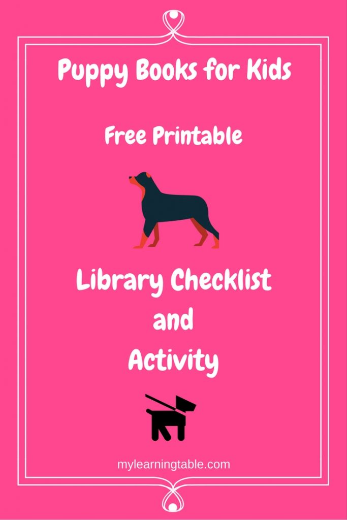 Puppy Books for Kids Free Printable mylearningtable.com