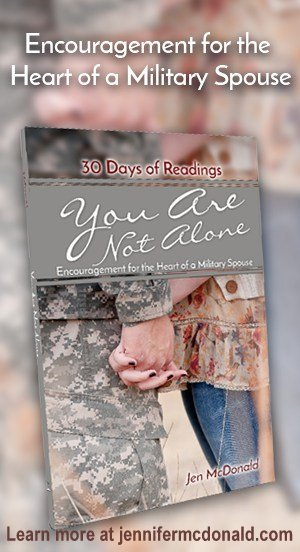 You Are Not Alone: Encouragement for the Heart of a Military Spouse is a book of 30 daily readings designed to encourage, strengthen, and uplift military spouses in the unique challenges they face. Whether it's a deployment, move, or raising military kids, find real-life solutions and inspiration from someone who's been there.