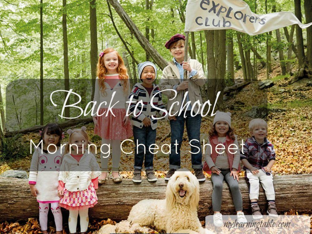 Back to School Morning Cheat Sheet mylearningtable.com