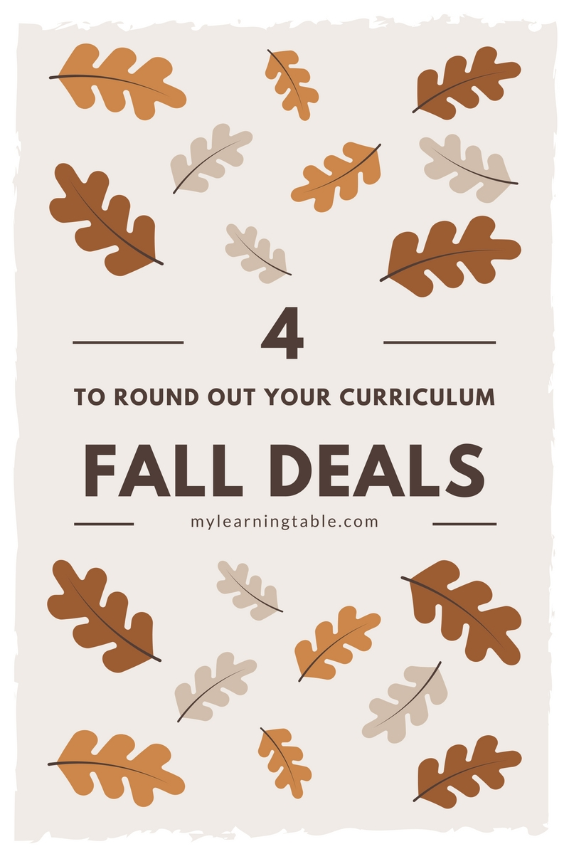 4 Fall Deals to Round Out Your Curriculum mylearningtable.com