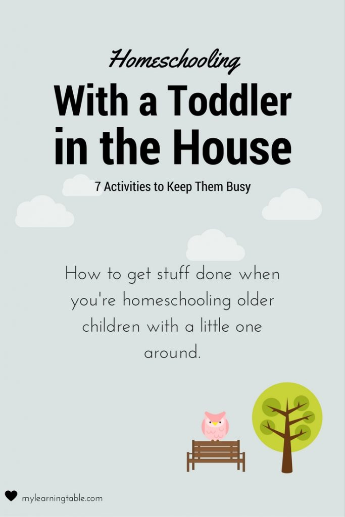 Ideas for keeping your toddler busy while you are homeschooling older children.