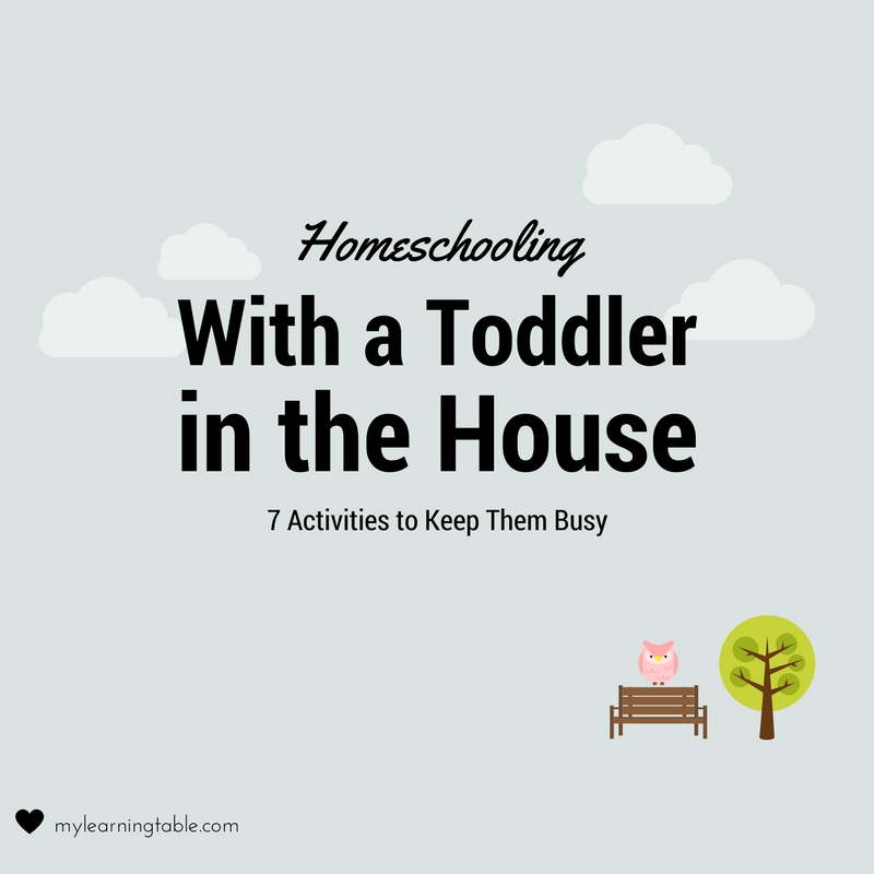 7 ideas for keeping your toddler busy while you are homeschooling older kids.