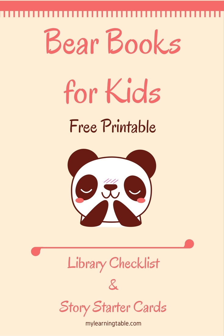 Bear Books for Kids Free Printable Library Checklist & Story Starter Cards Activity mylearningtable.com