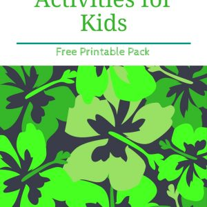 Free printable St. Patrick's Day Activity Pack with scrambled word activity, library checklist, and St. Patrick's Day themed notebook page.