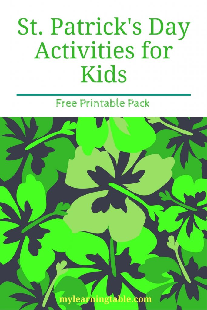 Free St. Patrick's Day Printables -- Activity Pack with scrambled word activity, library checklist, and St. Patrick's Day themed notebook page.