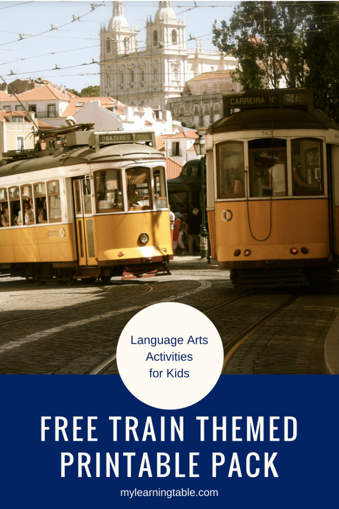 Free Train Themed Printable Pack: Language Arts Activities for Kids mylearningtable.com #WTRW
