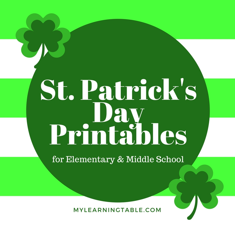 Free St. Patrick's Day Printables for Elementary and Middle School mylearningtable.com