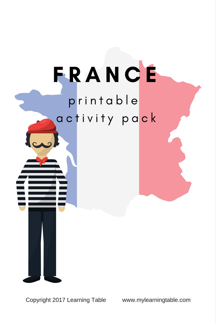This printable pack includes France Books for Kids Library Checklist, Counting in French Activity, French Cooking Activity, Map of France labeling, and decorated notebook pages (Elementary, Middle School) 9 pages.
