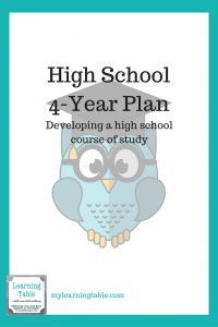 This High School 4-Year Plan will help you get your high school coursework plan of study mapped out and organized.
