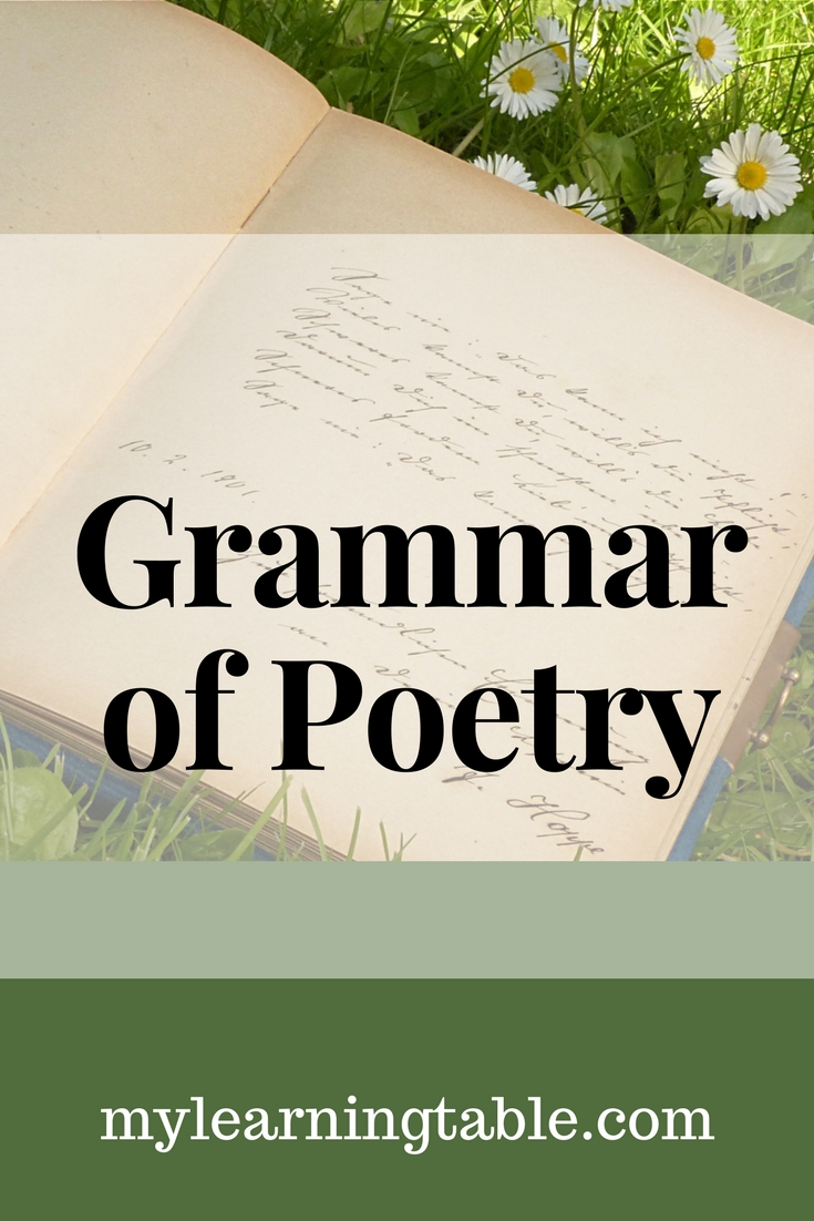 Grammar of Poetry is a 30-lesson course for middle school and early high school level students, with a suggested 1/2 academic high school literature credit. It is designed to be completed in one semester as part of a language arts course, but can be easily adapted to suit your needs. (I actually used it over an entire school year.)