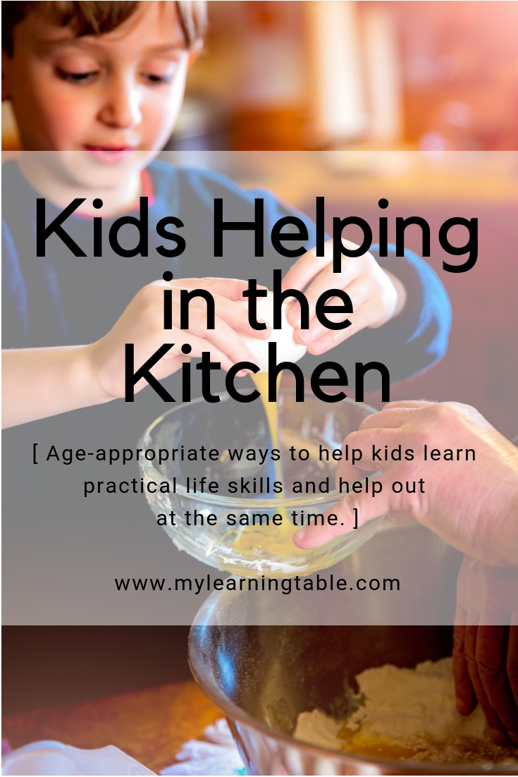 Kids Helping in the Kitchen: Age-appropriate ways to help kids learn practical life skills and help out at the same time.